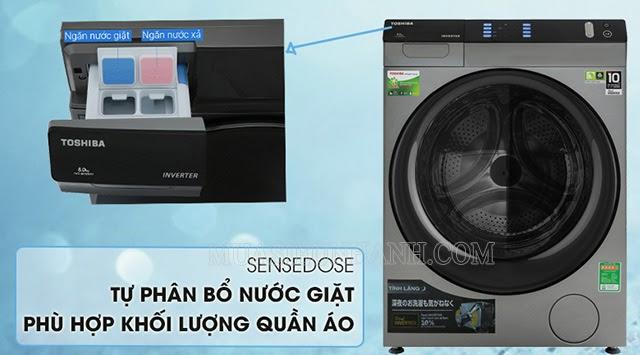 TWD-BH90W4V (SK) tự phân bố nước giặt phù hợp với số lượng quần áo