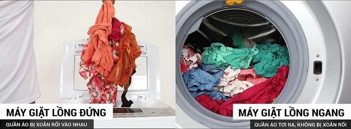 Sự khác nhau khi giặt quần áo giữa lồng đứng và lồng ngang