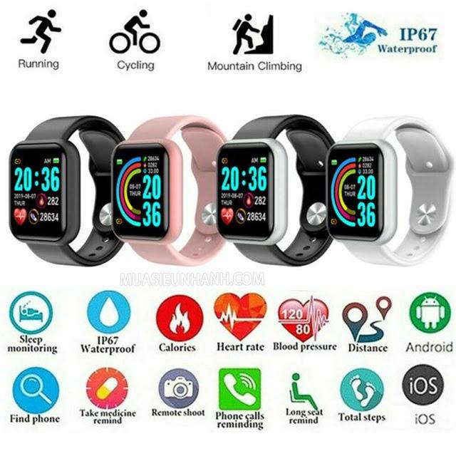 Smartwatch Y68 có 3 màu sắc cho bạn lựa chọn
