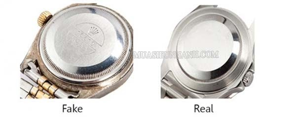 Mặt sau của đồng hồ Rolex Fake và Real