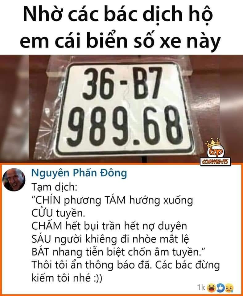 dịch biển số xe hài hước
