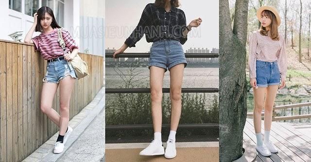 kết hợp quần short với áo phông