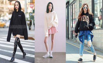 Phái nữ có thể mix áo hoodie với chân váy, quần jean hoặc dáng giấu quần