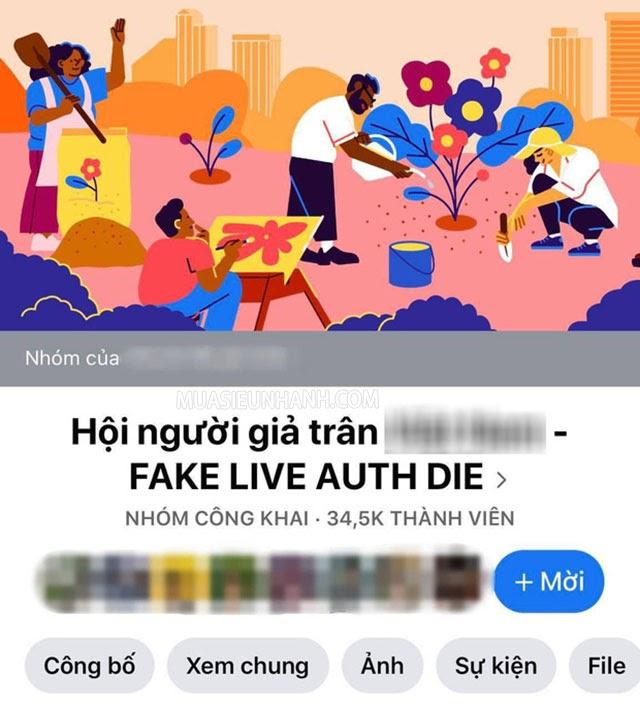 Trên mạng xã hội facebook còn xuất hiện cả nhóm Hội những người giả trân