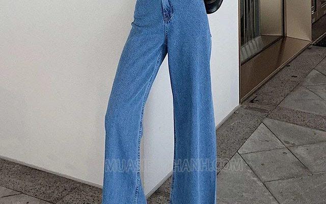 quần jean ống rộng cho người lùn