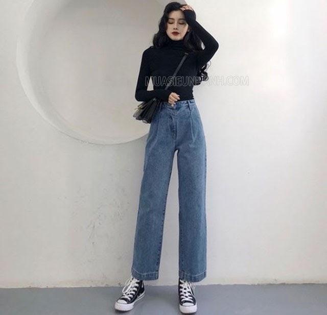 mẹo mặc quần ống rộng cho người lùn