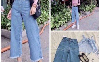 quần jean ống suông mặc với áo gì