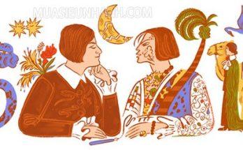 """Hình ảnh Doodle trên trang chủ ngày 7/2, kỷ niệm bài thơ trữ tình """"Mein blaues Klavier"""" của Else Lasker-Schüler"""