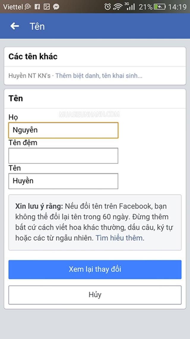 cách thay đổi tên trên facebook