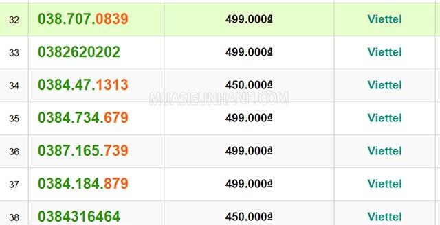 Sim đẹp đầu số 038 được rất nhiều người tìm mua