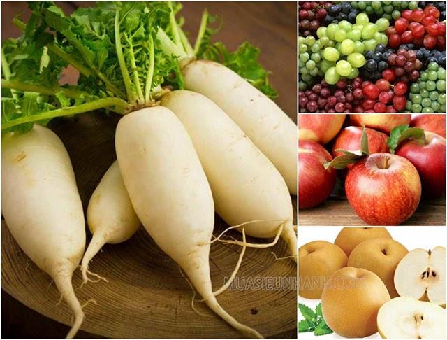 Các loại táo, lê, nho với củ cải trắng