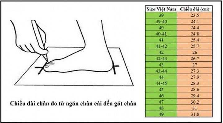 bảng đo size giày chuẩn