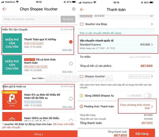 Áp dụng thật nhiều Shopee voucher để được giảm giá nhiều hơn